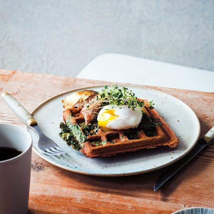 Kale & Buckwheat Waffles with Eggs from Nordic cookbook #recipe #vegetarian #eggs #cookbook #food