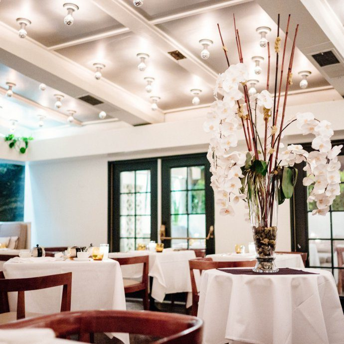 A beautiful fine dining room set at Mr Lyon in Palm Springs, The Taste SF