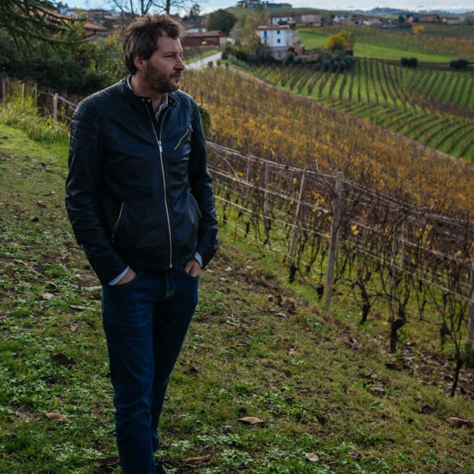 Alfio Cavallotto of Cavollatto wines outside of Castiglione Falletto - view of the vineyards in the Barolo region in Piedmont