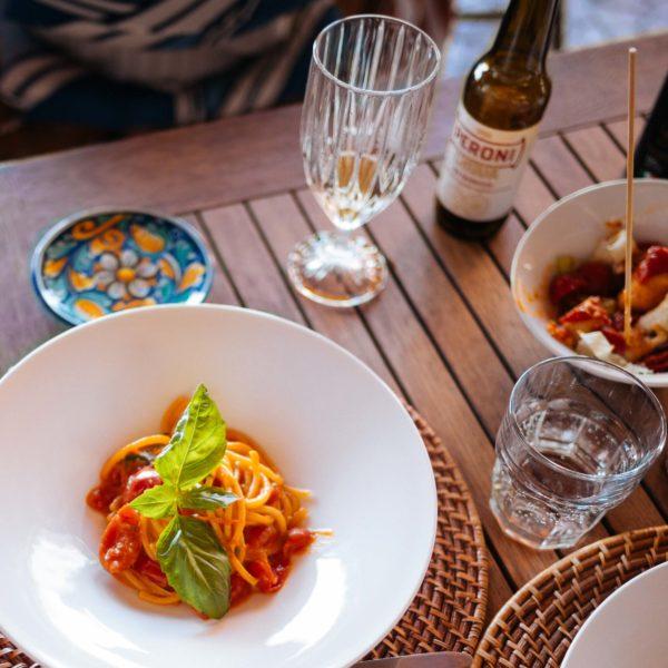 Bucatini allo scarpariello pasta recipe from the Mezzatorre in Ischia Italy, Photo by The Taste SF - Sarah Stanfield