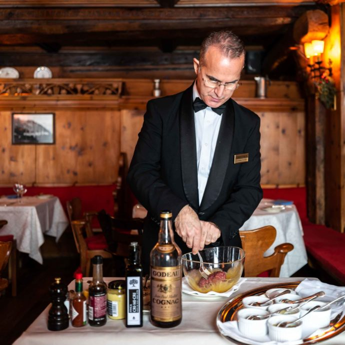 The best beef tartar customized and created table side at the Chesa Veglia the best St Moritz restaurant | thetastesf.com #travel #switzerland #stmoritz