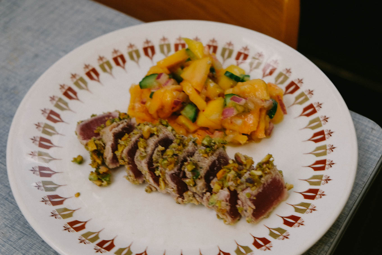 Seared tuna with pistachio crust and papaya salsa