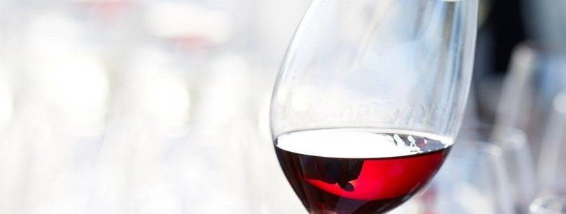 A close up of red wine