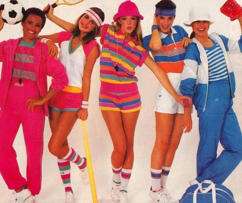 People dressed in 80s sports gear