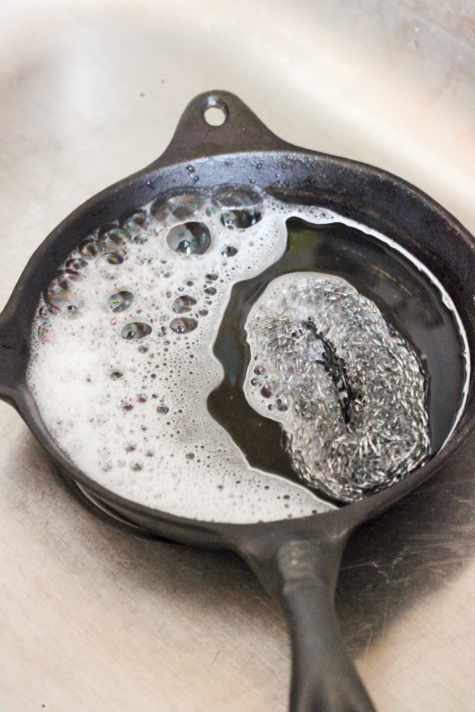 Clean your cast iron skillet by following these four simple steps.