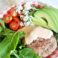Burger Salad with Sun Dried Tomato Buttermilk Dressing