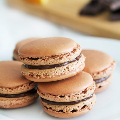 Dark Chocolate Orange Macarons