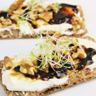 Balsamic Figs, Walnuts, and Whipped Goat Cheese Crostini
