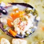 Turkey Meatball, Kale and Barley Soup