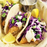 Crispy Fish Tacos with Cabbage Slaw and Lime Crema