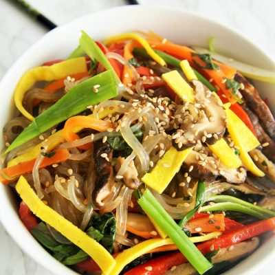 Korean Stir Fry Vegetable Noodles {Japchae}