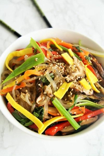 Korean Stir Fry Vegetable Noodles {Japchae}
