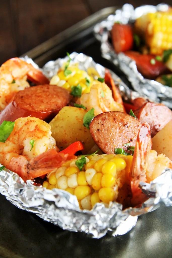 Cajun Sausage And Shrimp Boil Foil Packets The Tasty Bite
