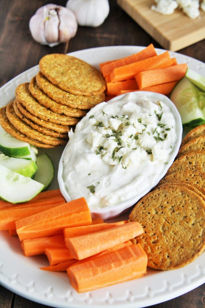 This creamy feta cheese dip with roasted garlic is easy to whip up and requires only 5 ingredients!
