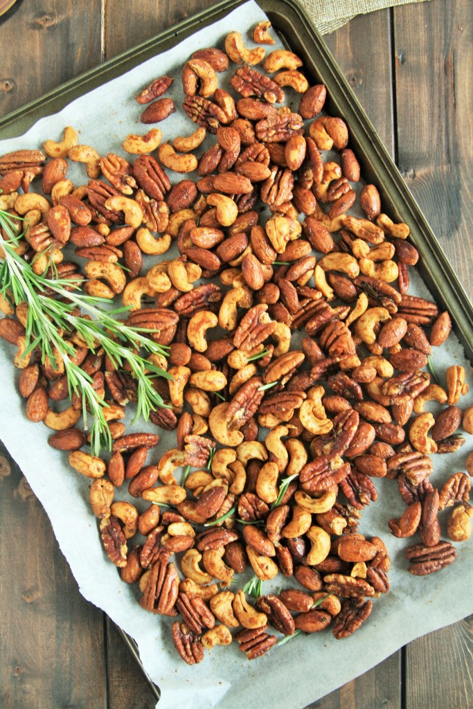 These Rosemary Honey Roasted Nuts are savory, sweet, and totally addicting thanks to the rosemary and cayenne pepper, with a touch of honey for sweetness.