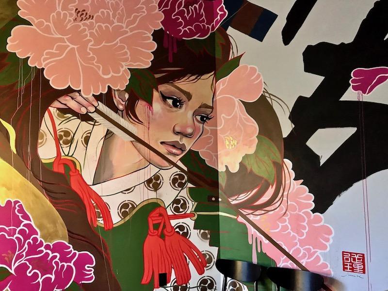 Gun Izakaya interior mural