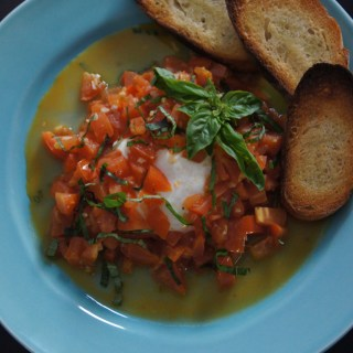 Burrata with White Wine and Garlic Sautéed Tomatoes