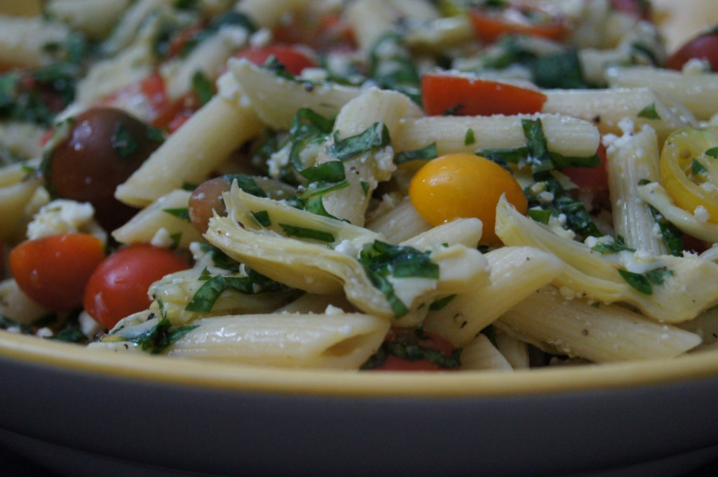 Cold Pasta Salad with Baby Heirloom Tomatoes and Baby Artichokes