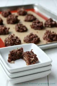 The Tasty Remedy Turns 1!  {Almond Joy No-Bake Cookies}