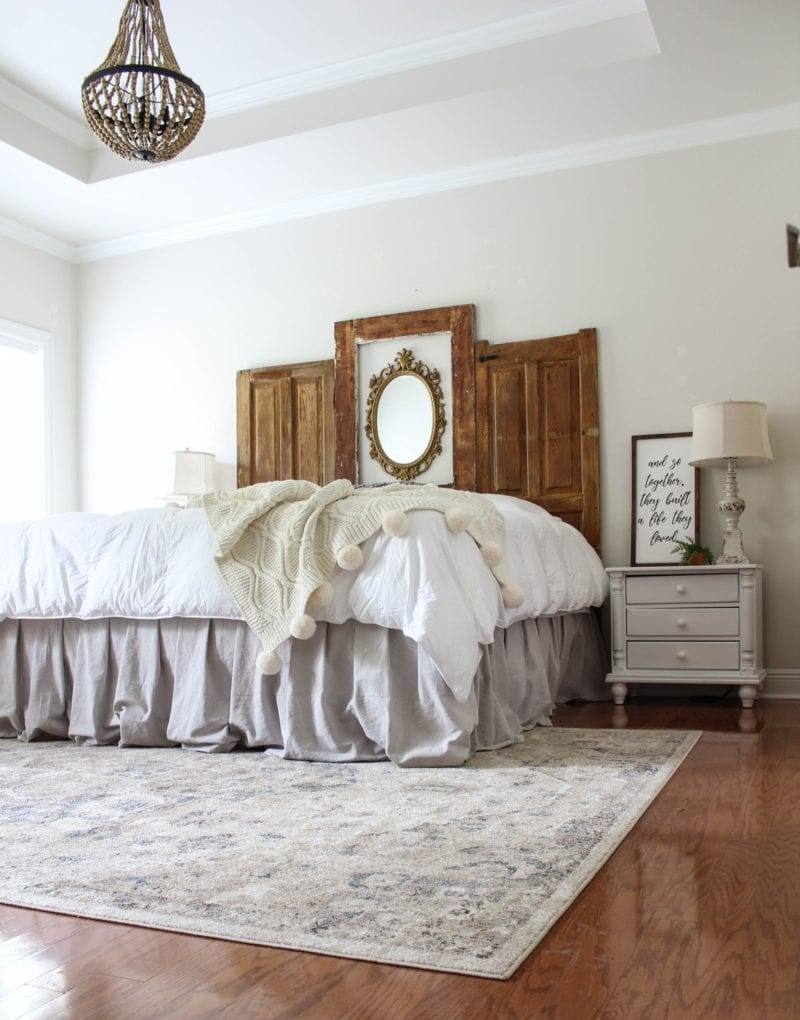 A round up of bed skirts, light fixtures, date nights, mud room, reupholstered chair, and an ottoman slipcover from five home decor bloggers.