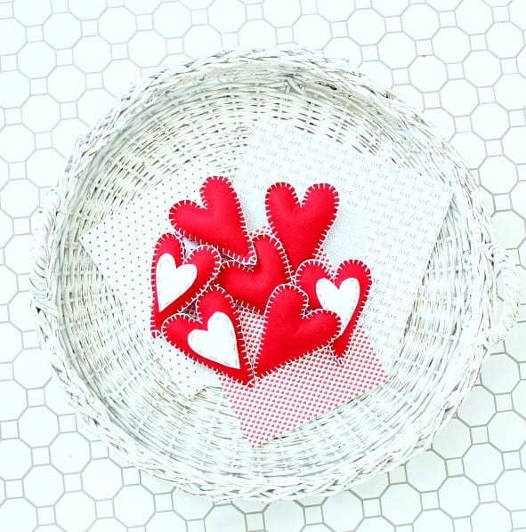 red felt hearts in basket