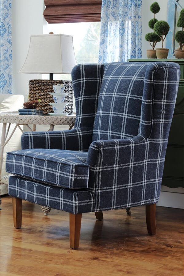 I am in love with our new blue accent chair from Wayfair!