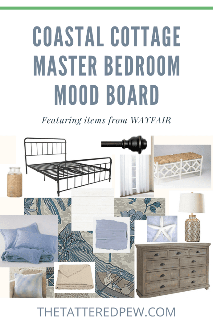 Need some inspiration? Check out this Coastal Cottage Master Bedroom mood board and shoppable links.