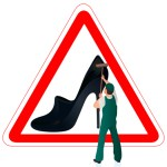 shoe warning sign