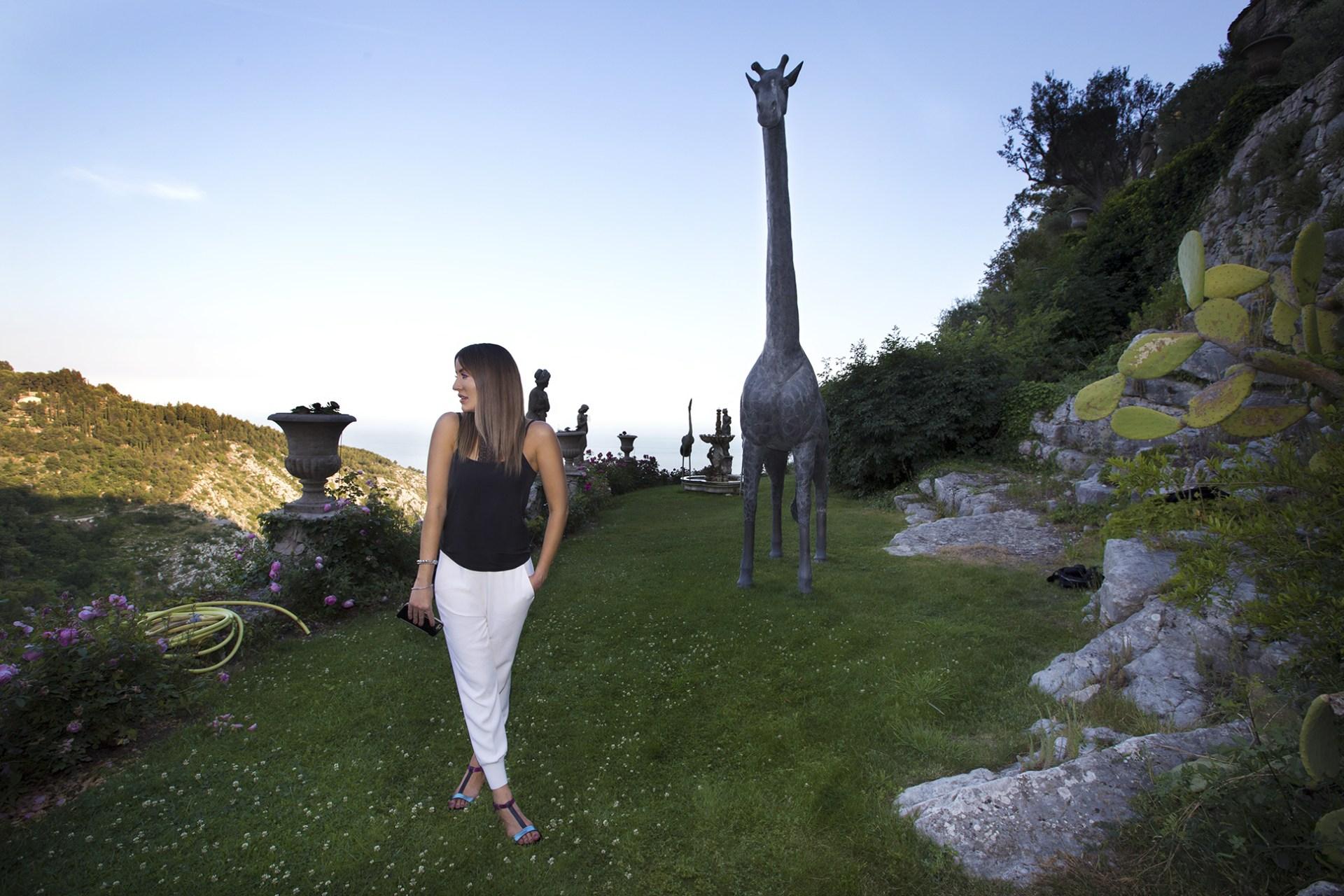 The gardens and giraffe sculptures of Chateau de la Chèvre d'or