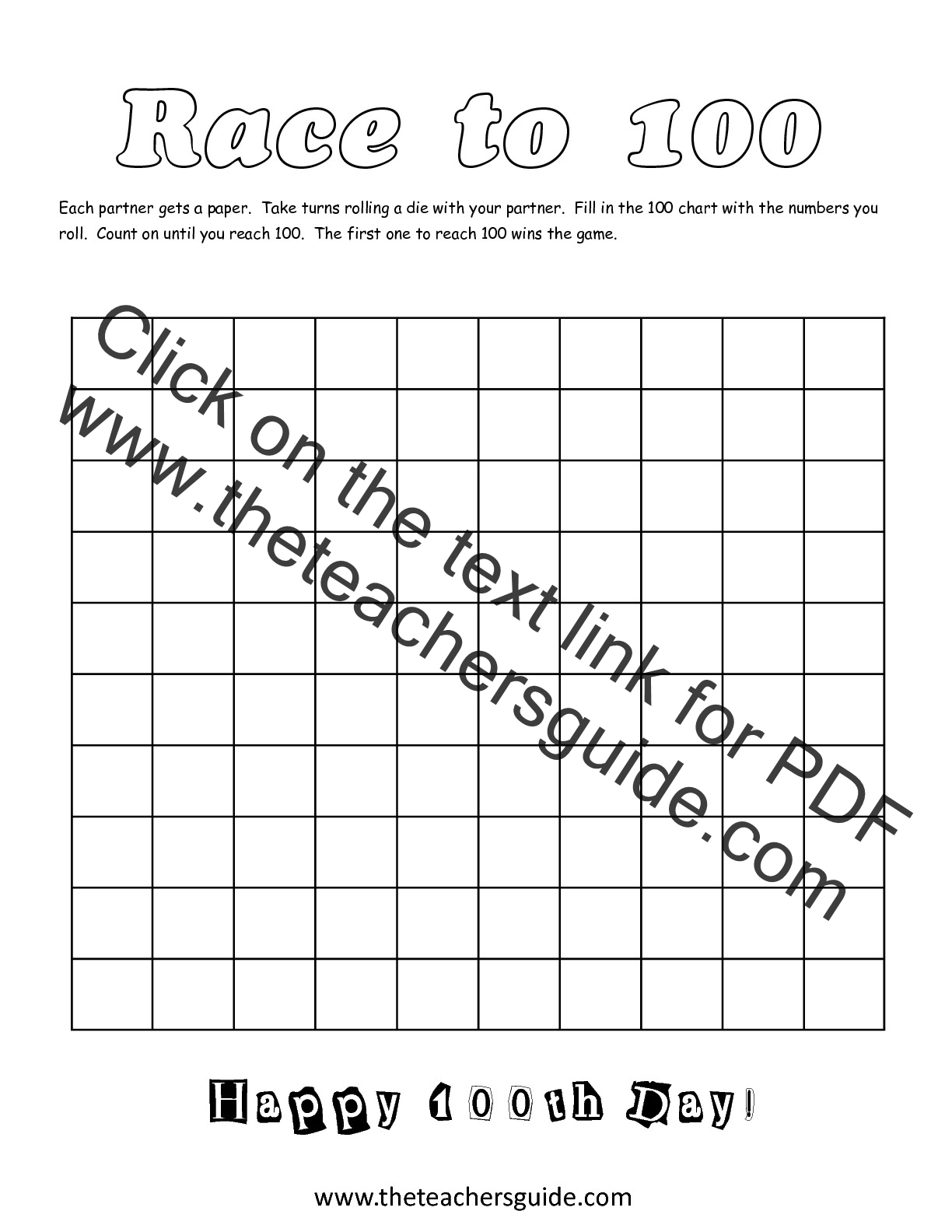 100th Day Of School Printouts From The Teacher S Guide