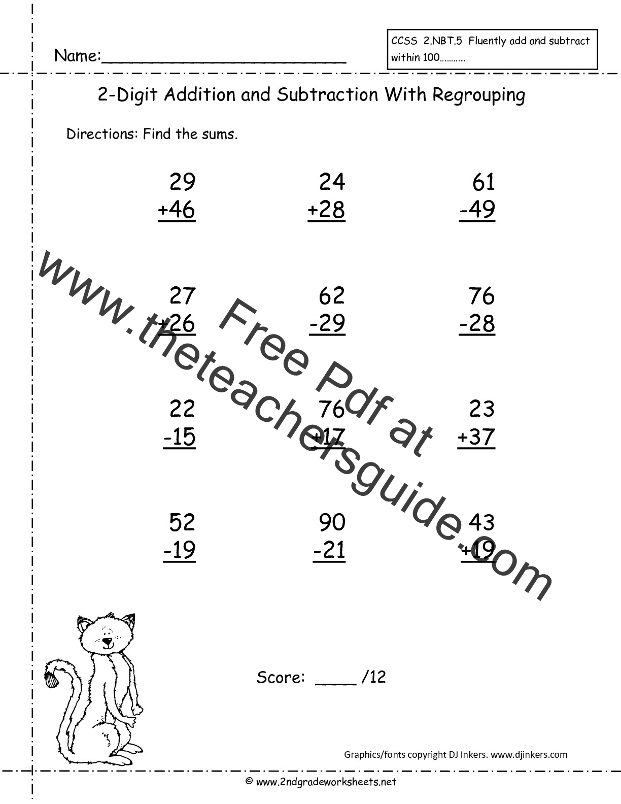 Two Digit Addition And Subtraction Worksheets From The