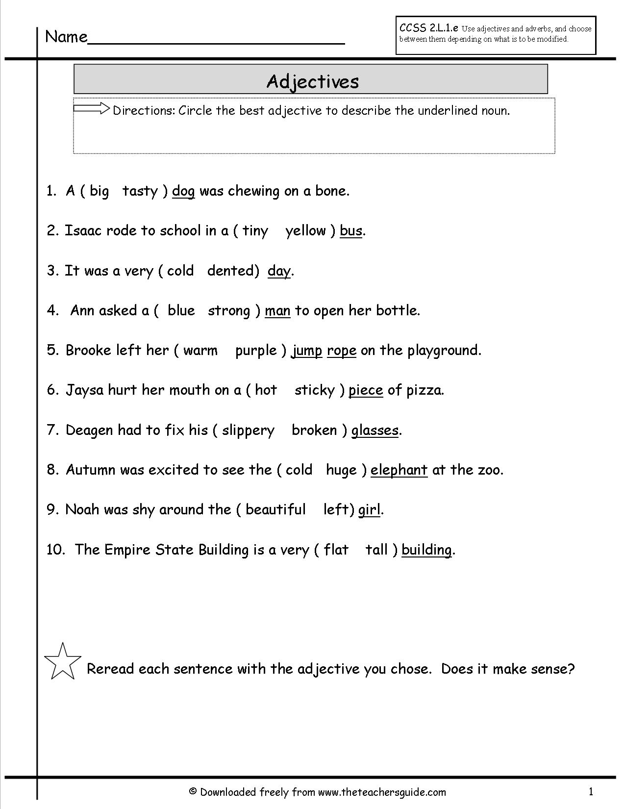 Worksheet For Grade 6 English Grammar