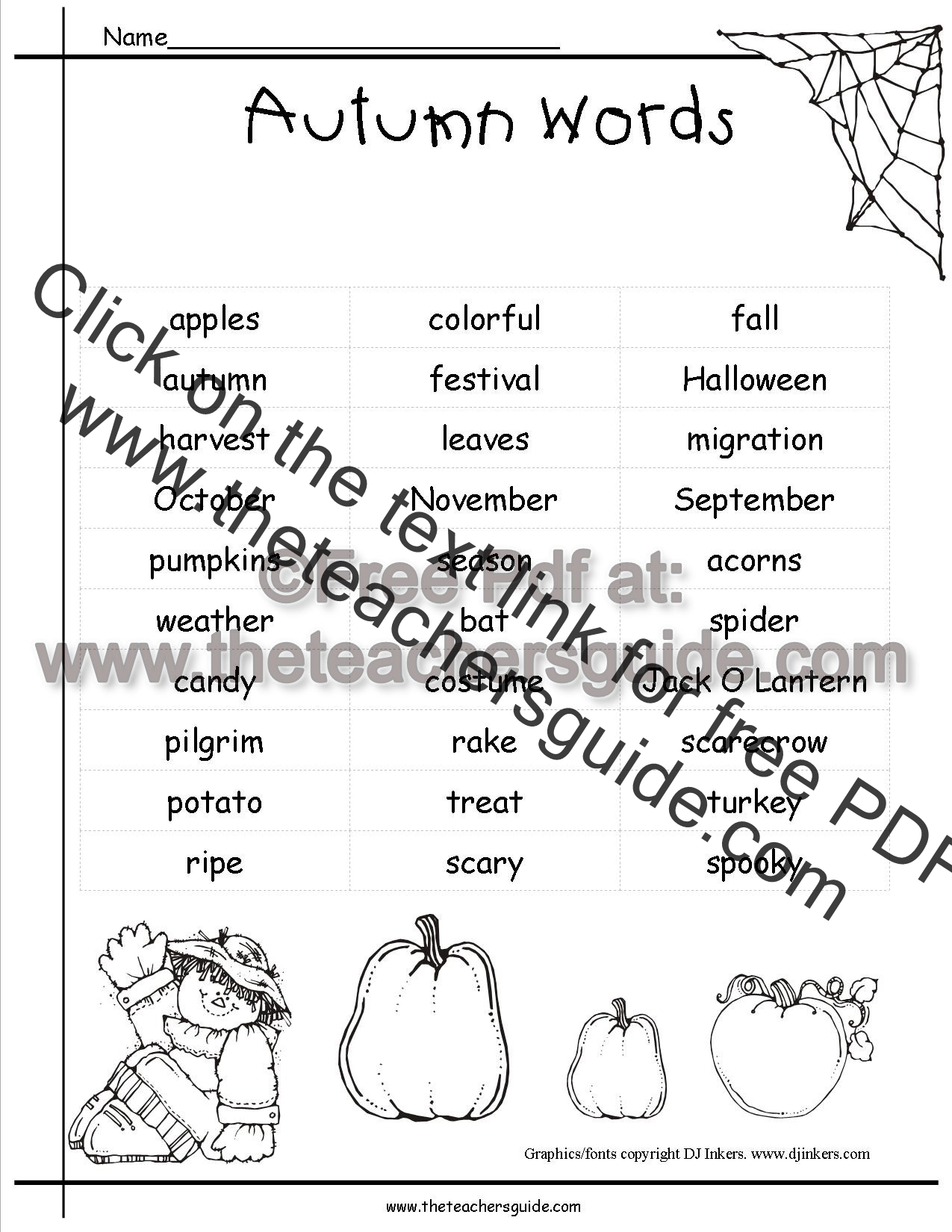 Autumn Worksheets And Printouts From The Teacher S Guide