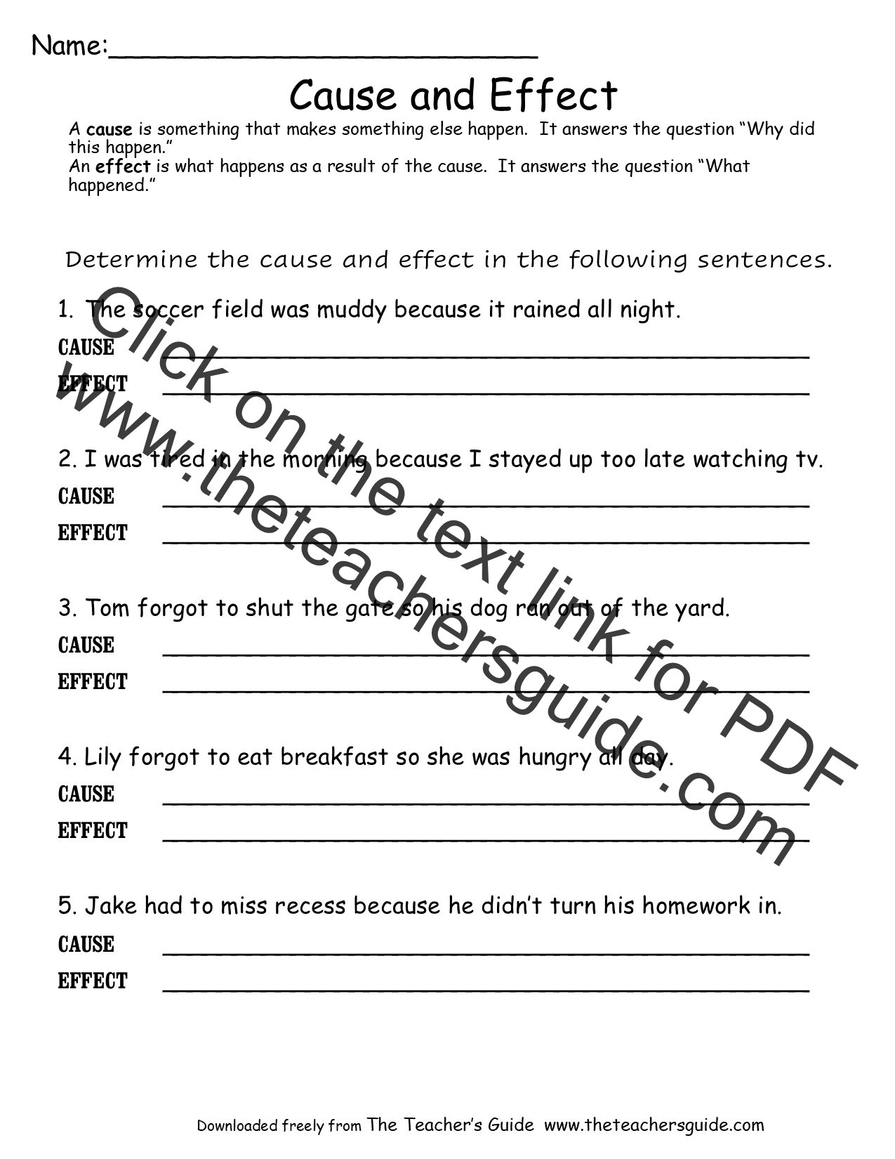 Pin Cause And Effect Printable Worksheets 8th Grade