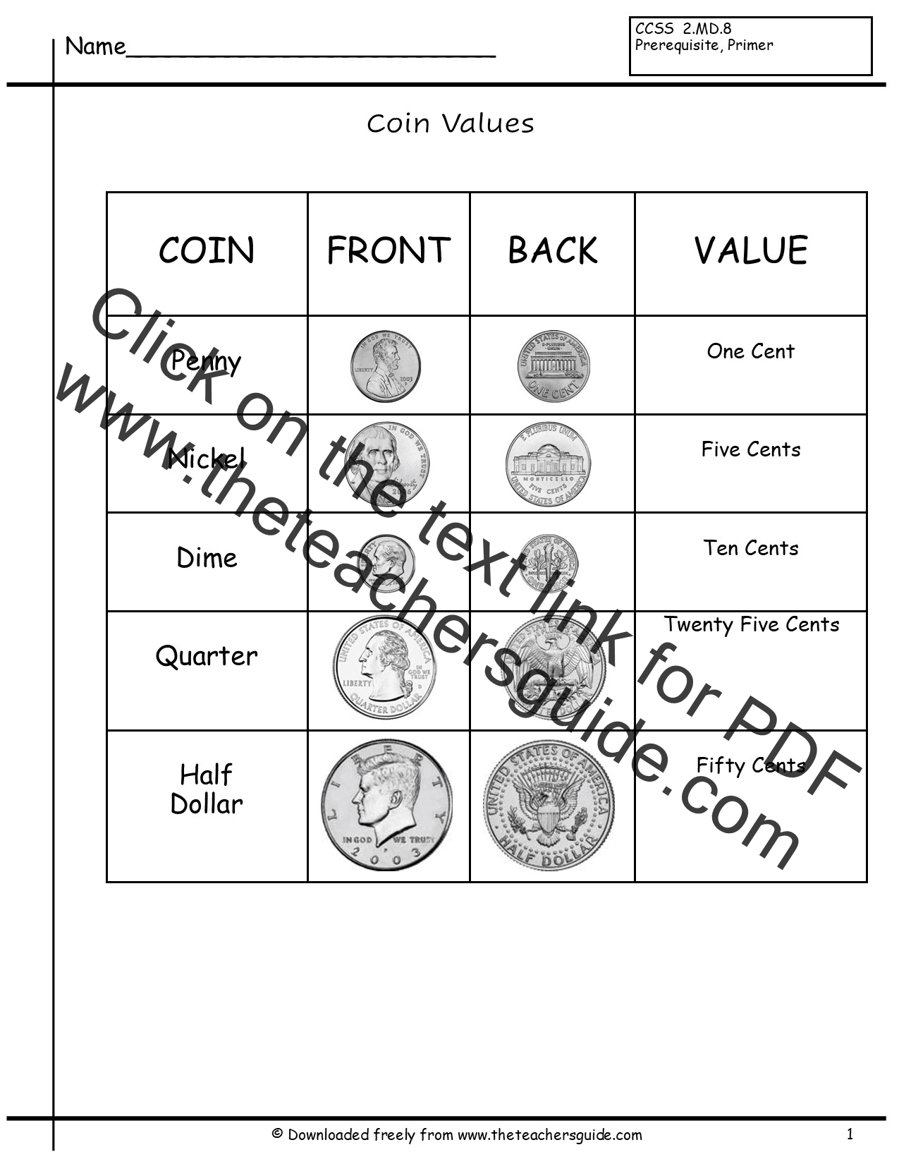 Dollar Bill Worksheet Elementary