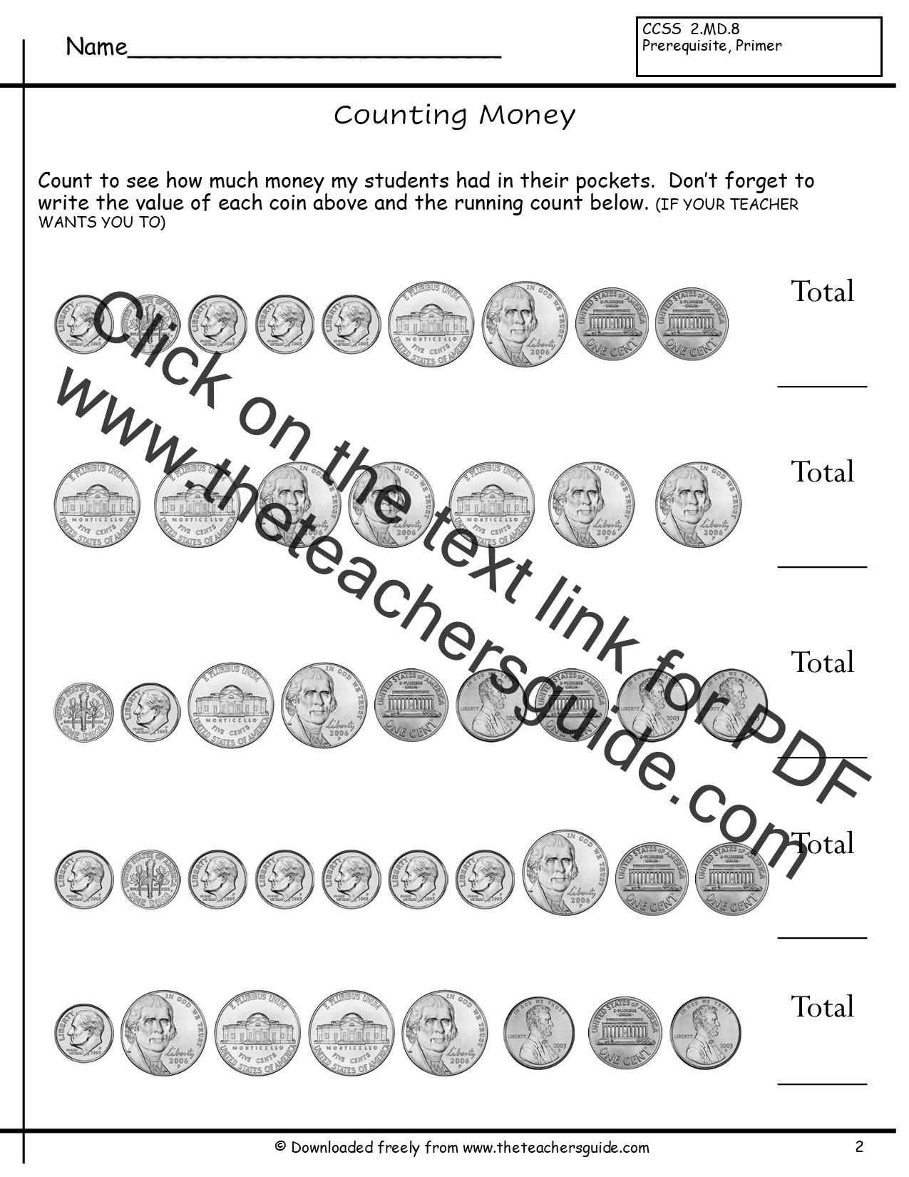 Coin Exchanges Worksheets