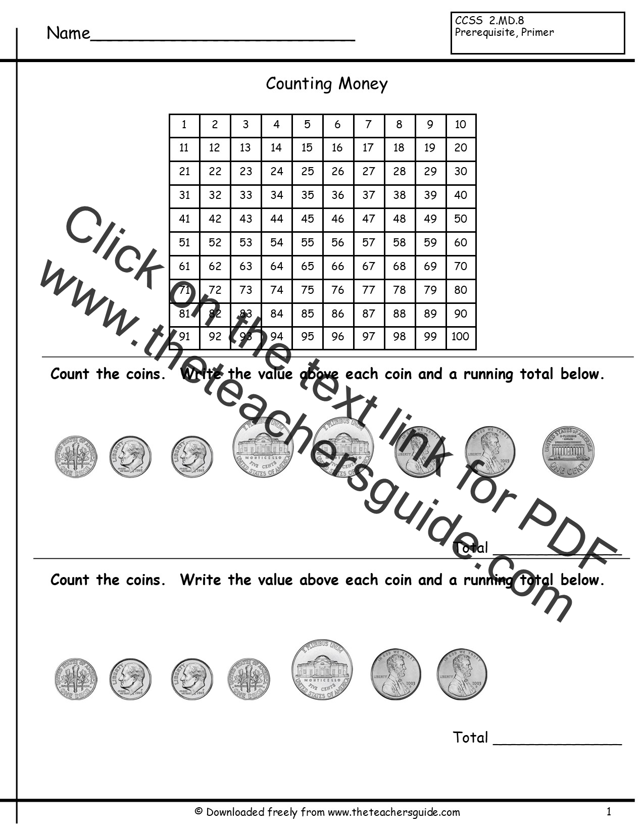 Identify Coins And Values Worksheet