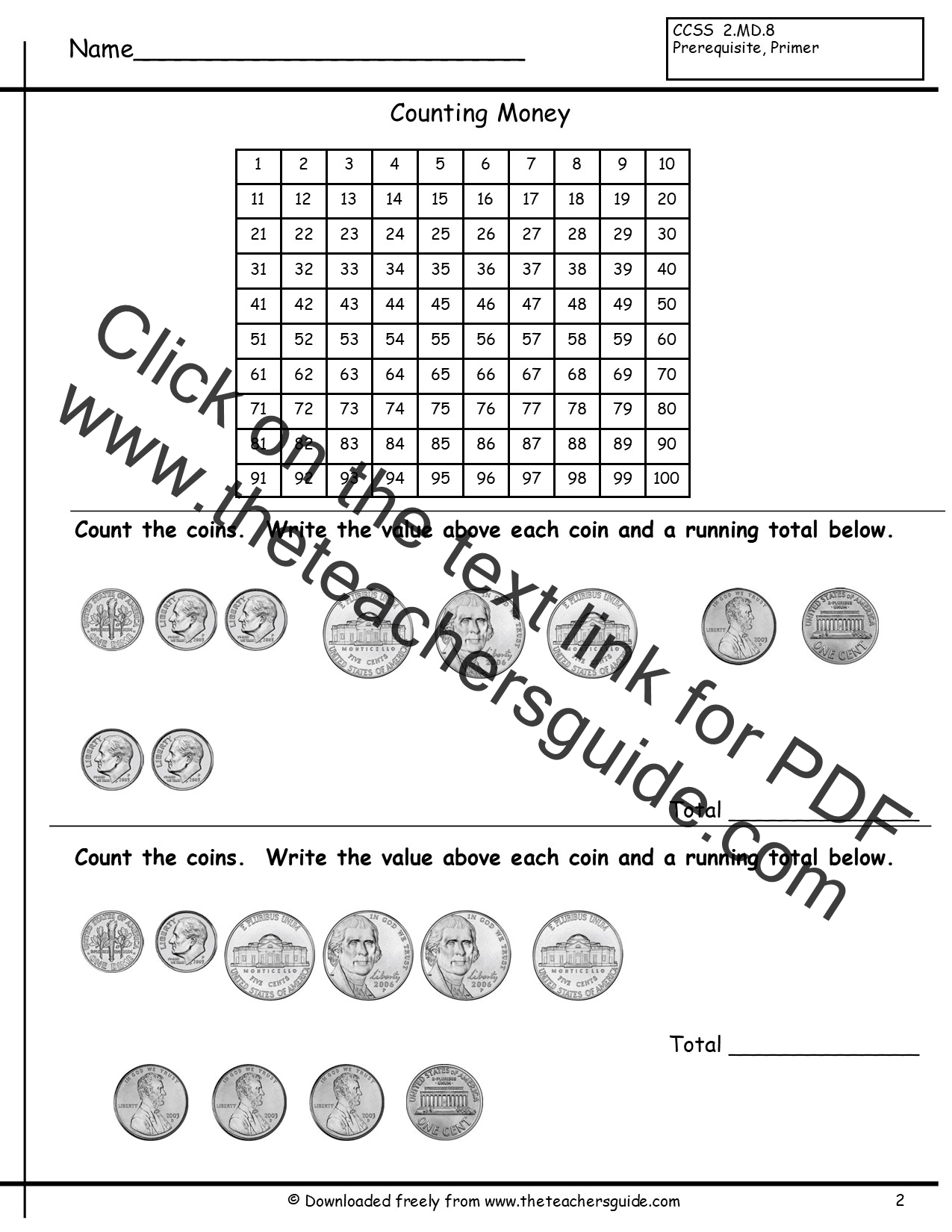 100 Pennies Worksheet