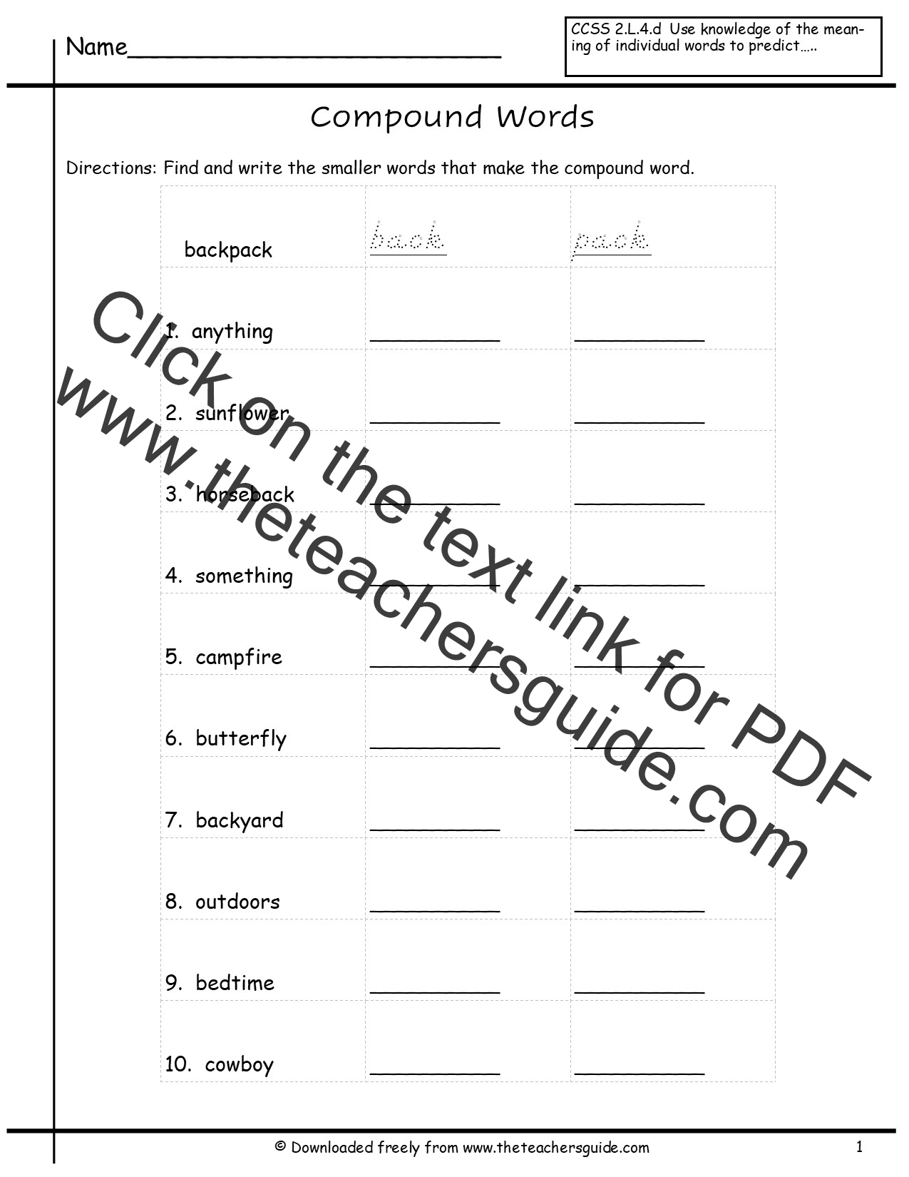 Compound Word Worksheets From The Teacher S Guide