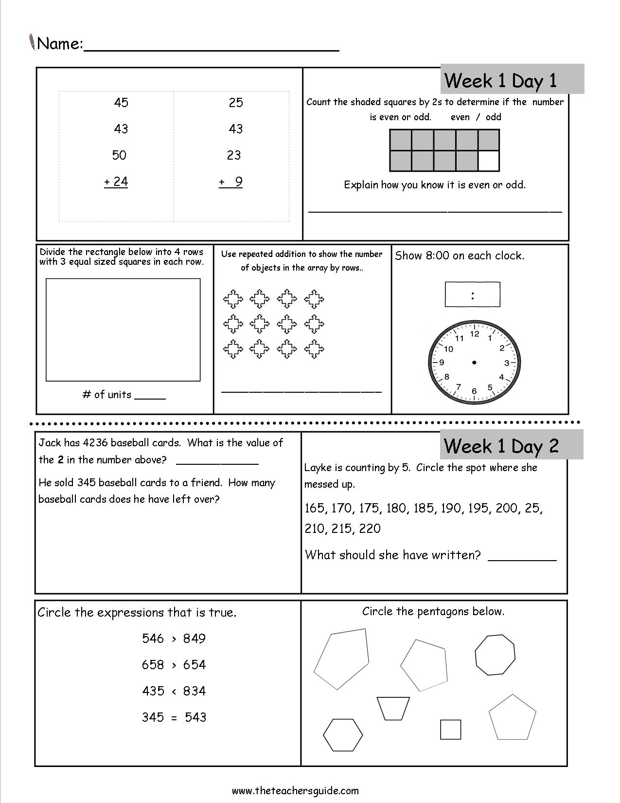 5 Grade Math Worksheet For Today