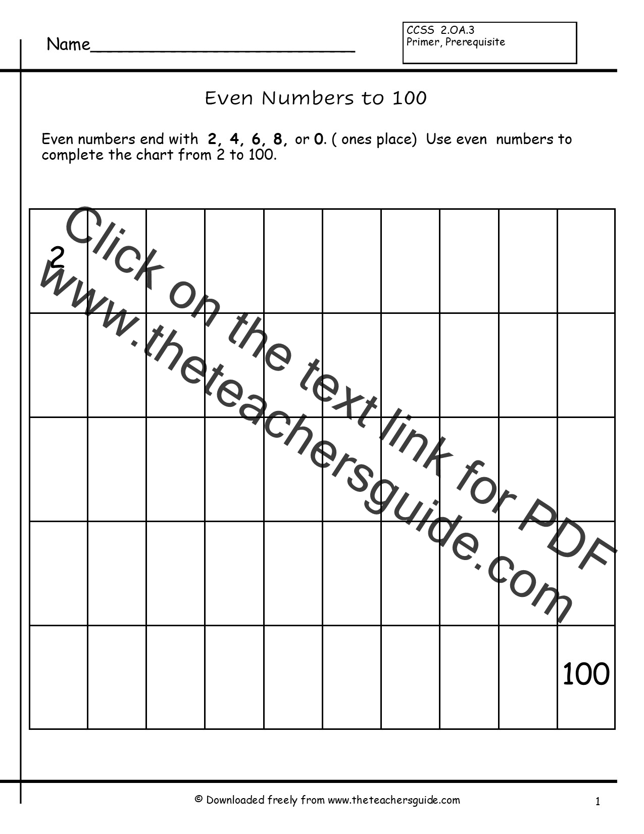 Numbers 2 To 100 Worksheet Students Write Even Numbers