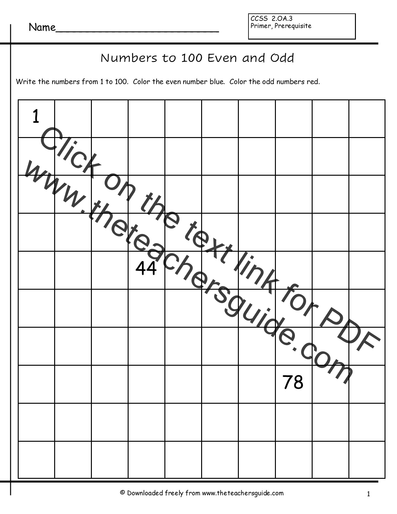 Odd Numbers 1 To 100 Worksheet Students Write Numbers From