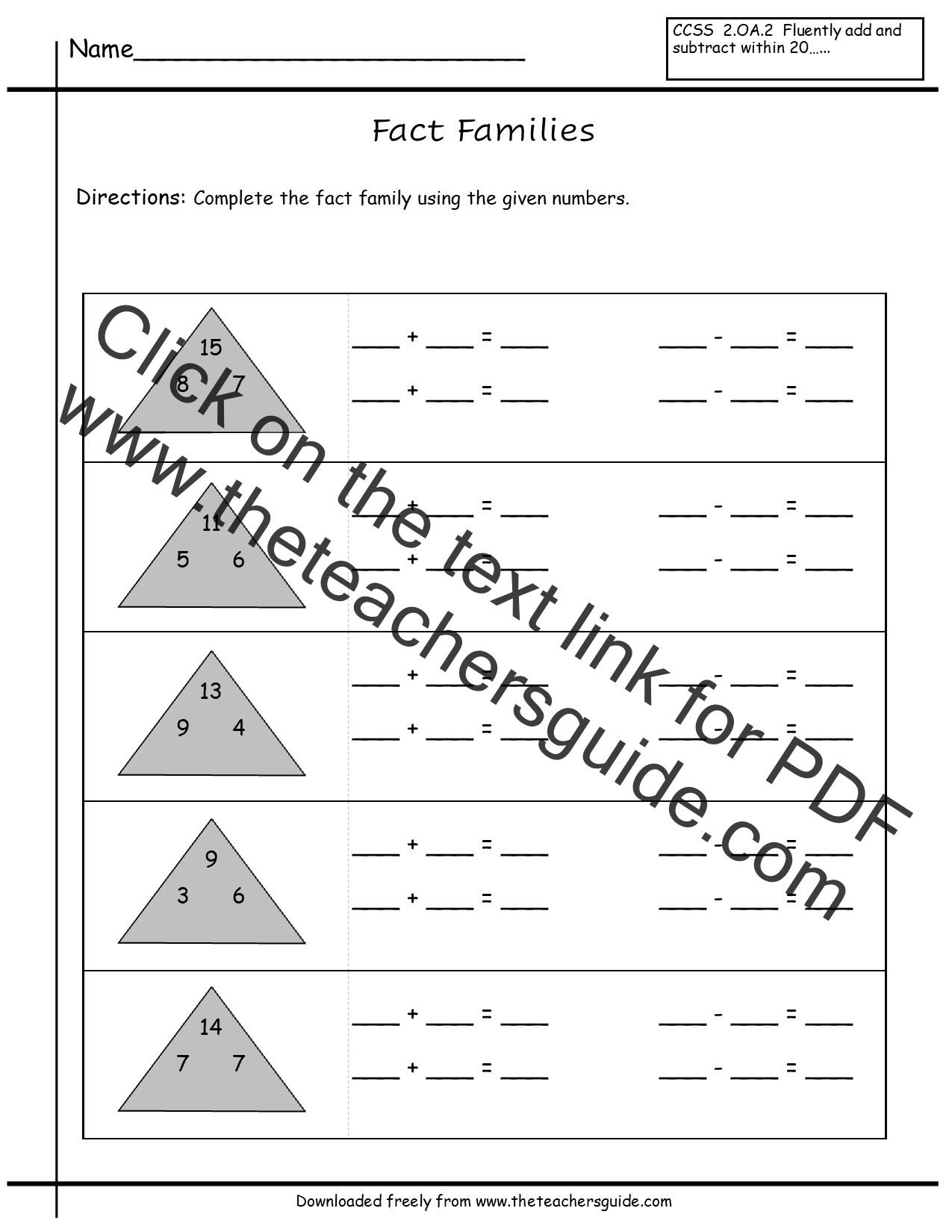 Fact Family Math Worksheets