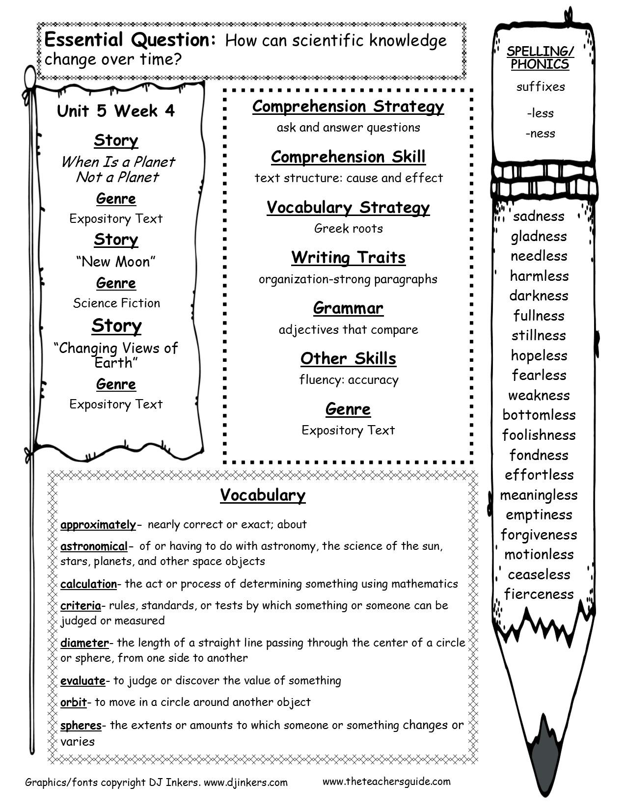 Wonders Fifth Grade Unit Five Week Four Printouts