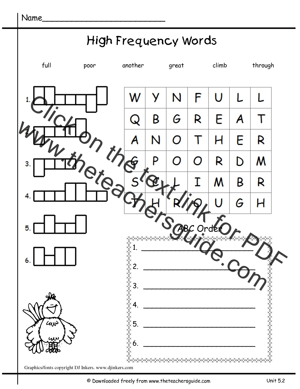 Wonders First Grade Unit Five Week Two Printouts