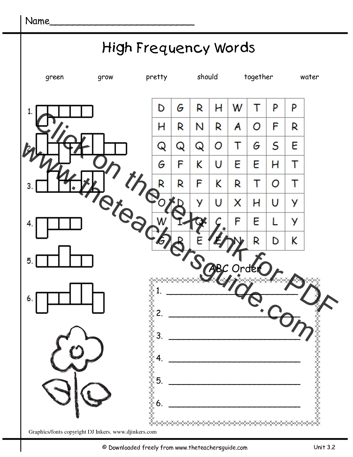 High Frequency Sentences Worksheets