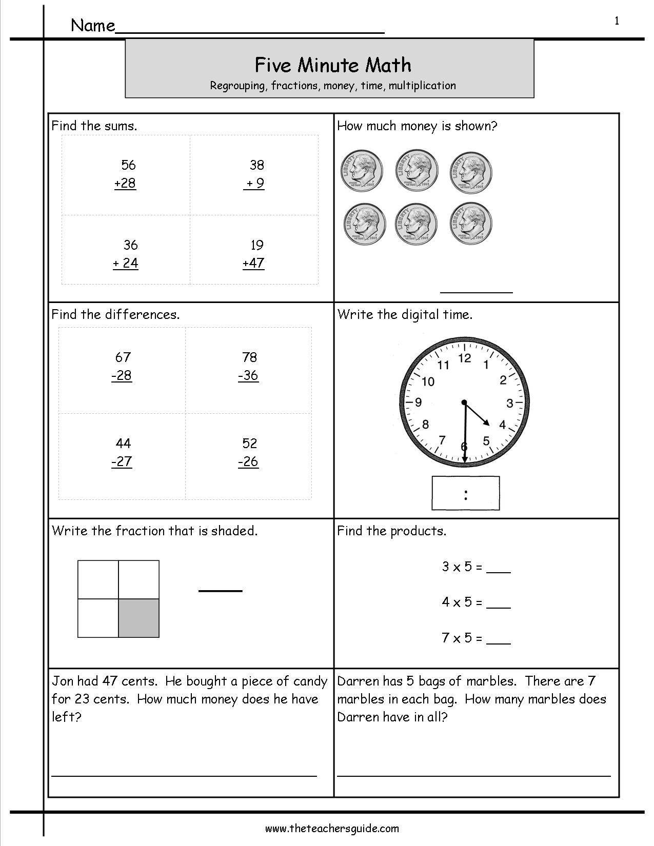 Five Minute Math Review Worksheets From The Teacher S Guide