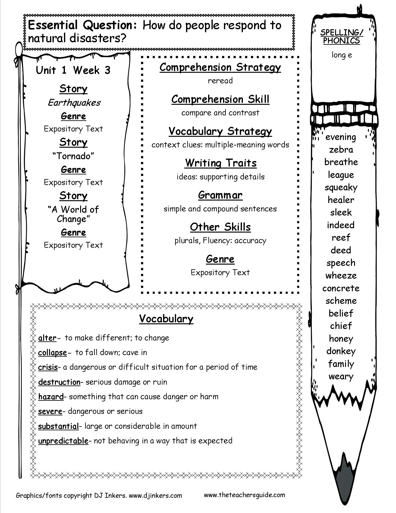 4th Grade Vocabulary Words And Definitions Worksheets