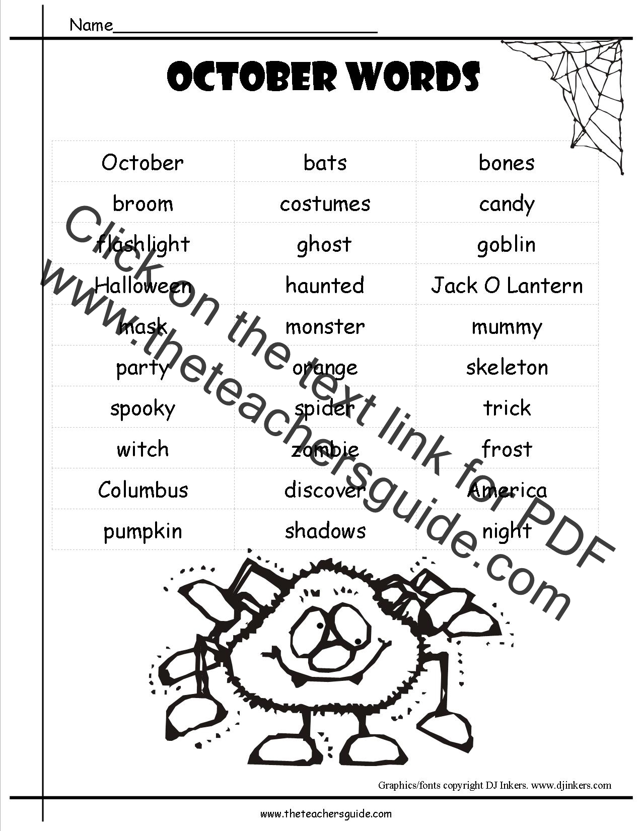 Pre K Words Month Worksheet
