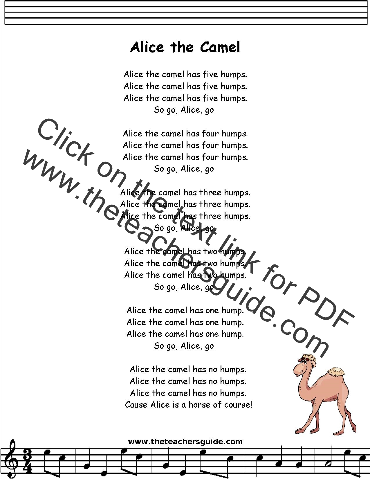 Alice The Camel Lyrics Printout Midi And Video